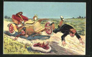 Künstler-AK Ermenegildo Carlo Donadini: Mann überfährt Fussgänger mit seinem Auto und fällt selbst aus dem Wagen