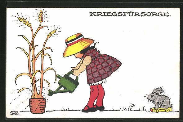 Künstler-AK Dora Heckel: Mädchen giesst das Getreide im Blumentopf