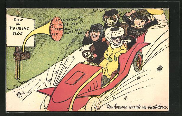 Künstler-AK sign. M. Pencil: Ausflugsgesellschaft in rasanter Fahrt mit dem Auto