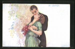 Künstler-AK de Godella: Paar in inniger Umarmung