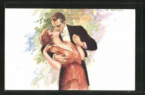 Künstler-AK de Godella: Paar küsst sich beim Tanz