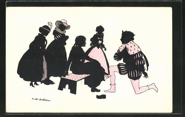 Künstler-AK Ov. Alt-Stutterheim: Prinz steckt Aschenbrödel den passenden Schuh an