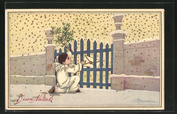 Künstler-AK Adolfo Busi: Kleiner Pierrot steckt einen Brief durch den Gartenzaun