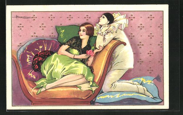 Künstler-AK Adolfo Busi: Dame im grünen Kleid lehnt sich an den Pierrot