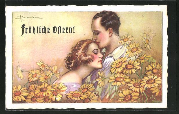 Künstler-AK Adolfo Busi: Paar in vertrauter Umarmung zwischen gelben Blüten,