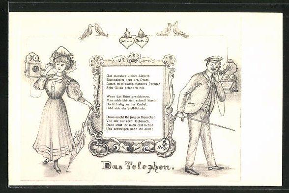 Künstler-AK H. Starkloff: Frau und Mann beim Telefonieren