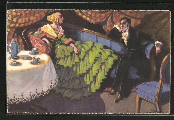 Künstler-AK von Puttkammer: Paar sitzt beim Tee zusammen