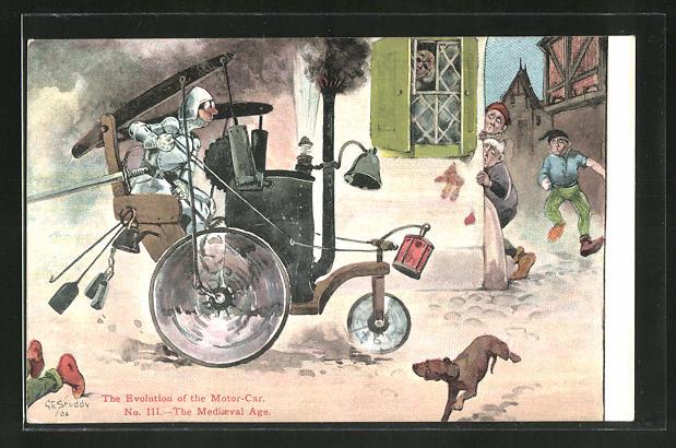 Künstler-AK George Edward Shepheard: The Evolution of the Motor-Car, The Medieval Age