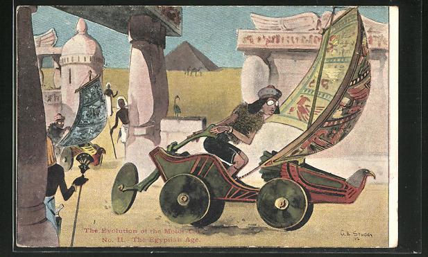 Künstler-AK George Edward Shepheard: The Evolution of the Motor-Car, The Egyptian Age