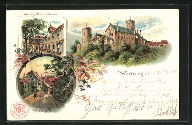 Lithographie Wartburg, Wartburg-Hotel und Restaurant