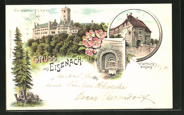 Lithographie Eisenach, Wartburg von Osten, Elisabeth-Brunnen