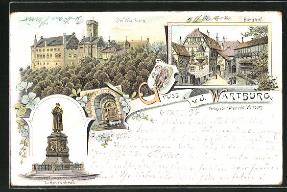 Lithographie Wartburg, Burghof, Elisabeth-Brunnen, Luther-Denkmal