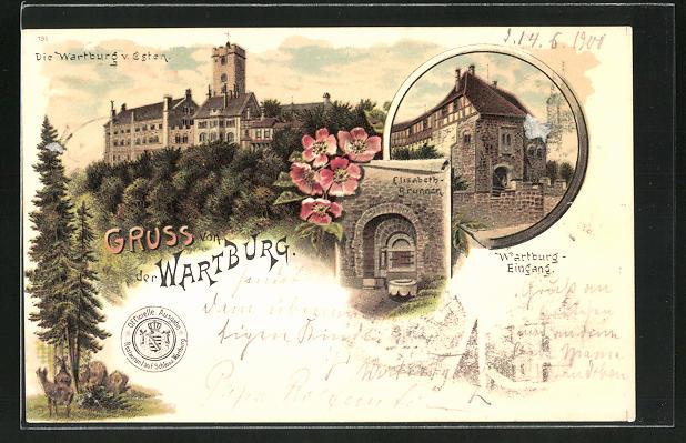 Lithographie Wartburg von Osten, Elisabeth-Brunnen