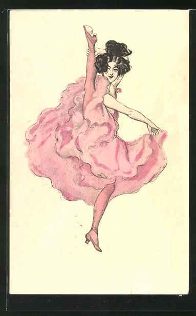 Künstler-AK Simplicissimus: Tänzerin schwingt ihr Bein in die Höhe