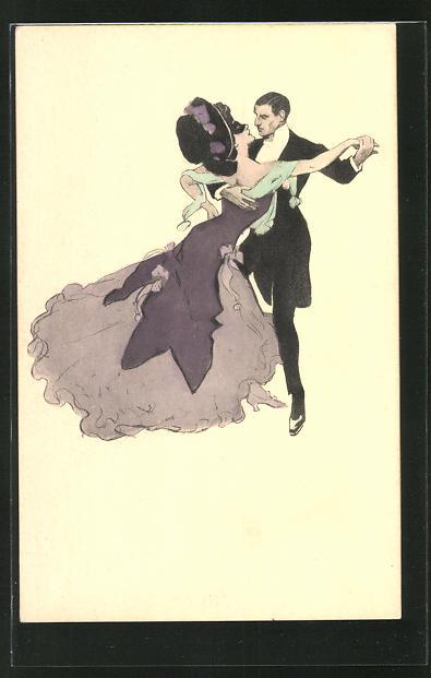 Künstler-AK Simplicissimus: Paar bem leidenschaftlichen Tanz