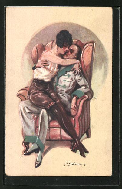 Künstler-AK von Puttkammer: Liebespaar auf einem Sessel