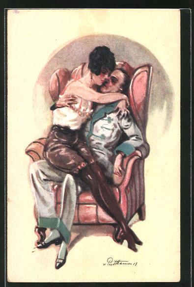Künstler-AK von Puttkammer: Liebespaar umarmt sich auf einem Sessel