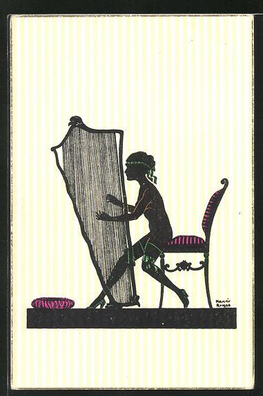 Künstler-AK Manni Grosze: Nackte in halterlosen Strümpfen spielt auf der Harfe