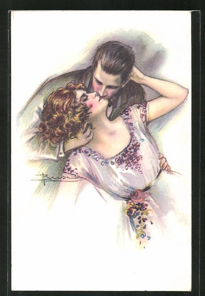 Künstler-AK Adolfo Busi: Liebespaar beim Kuss