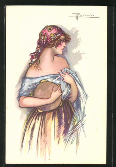 Künstler-AK Adolfo Busi: Schöne Frau mit Kopftuch und Tambourin