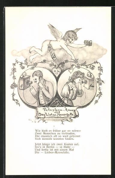Künstler-AK H. Starkloff: Telefon-Amor mit der Liebes-Mausefalle