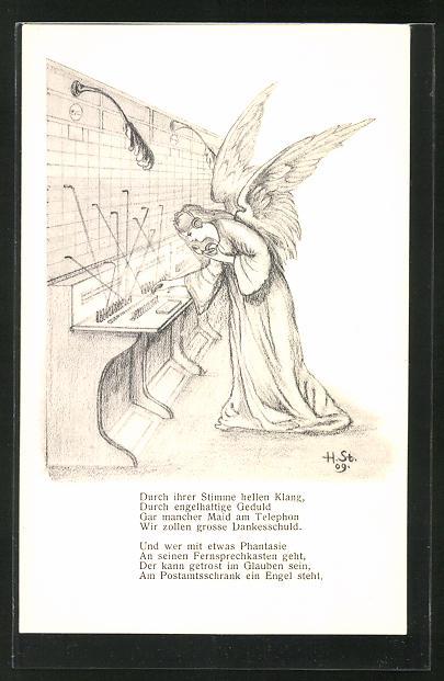 Künstler-AK H. Starkloff: Engel arbeitet in einer Telefonzentrale
