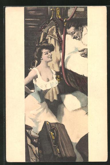 Künstler-AK Ferdinand von Reznicek: Simplicissimus Serie II. No. 9: Frau weckt einen Mann