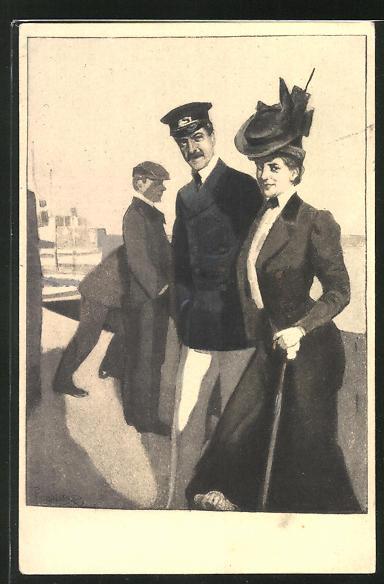 Künstler-AK Ferdinand von Reznicek: Simplicissimus Serie V. No. 2: Mann in Begleitung einer jungen Frau mit Hut