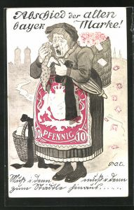 Künstler-AK P. O. Engelhard (P.O.E.): weinende alte Frau mit Briefmarken in der Kiepe und 10 Pfennig-Briefmarken Schürze