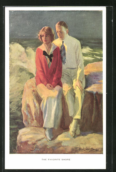 Künstler-AK Alfred James Dewey: The favorite Shore, Liebespaar an der Brandung