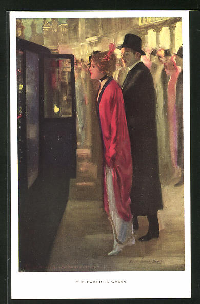 Künstler-AK Alfred James Dewey: The favorite Opera, elegante Frau begleitet einen Herren