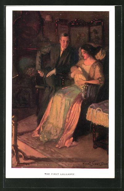 Künstler-AK Alfred James Dewey: The first Lullabye, Ehepaar mit Neugeborenem