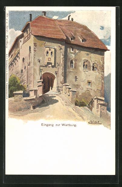 Künstler-AK Carl Biese: Eingang zur Wartburg