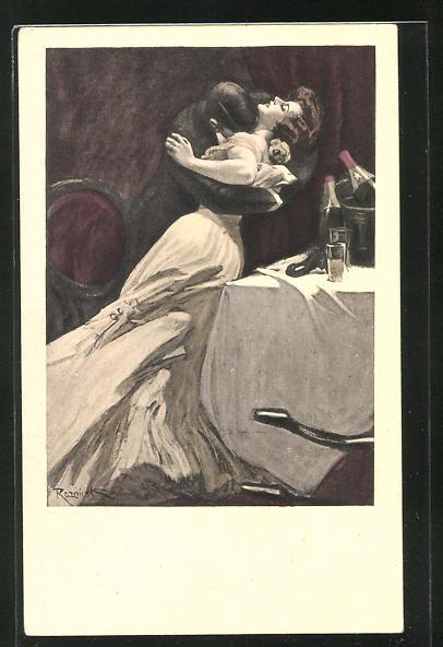 Künstler-AK Ferdinand von Reznicek: Simplicissimus Serie IX. No. 5: Mann überfällt eine Frau