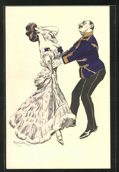 Künstler-AK Ferdinand von Reznicek: Simplicissimus Serie V. No. 11: Frau und Mann bei einem Paartanz