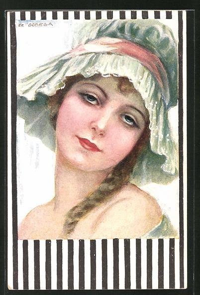 Künstler-AK de Godella: junge Frau mit geflochtenem Haar und Hut