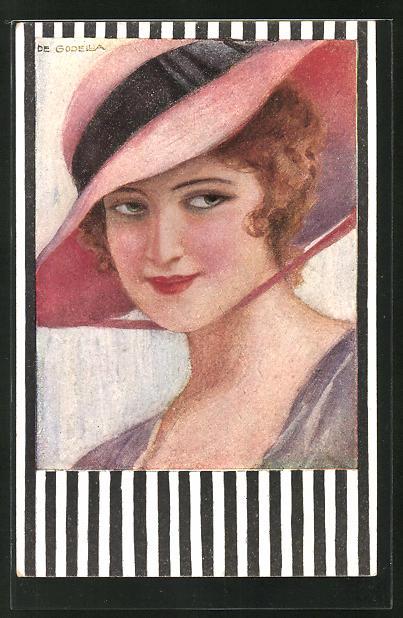 Künstler-AK de Godella: schöne Frau mit rotem Hut im Portait