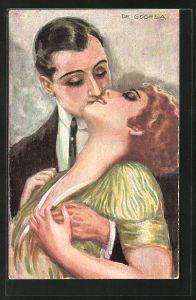Künstler-AK de Godella: Heisses Blut, Mann küsst seine Liebste