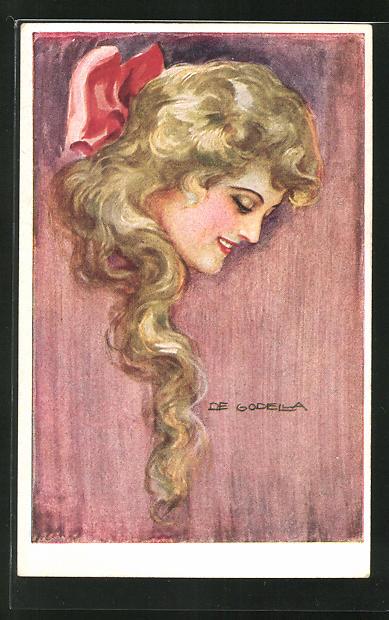Künstler-AK de Godella: junge Frau mit schönem, langen, blonden Haar
