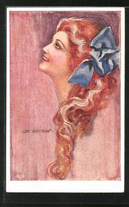 Künstler-AK de Godella: rothaarige Frau mit blauer Schleife im Haar