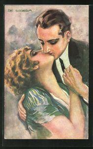 Künstler-AK de Godella: Rosenlippen, Liebespaar bei einem Kuss