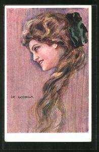 Künstler-AK de Godella: schöne braunhaarige Frau mit grüner Schleife im Haar