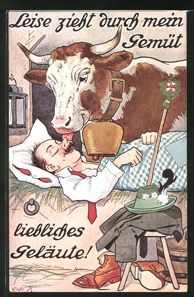 Künstler-AK P. O. Engelhard (P.O.E.): Leise zieht durch mein Gemüt, liebliches Geläute!, Kuh weckt ihren Hirten