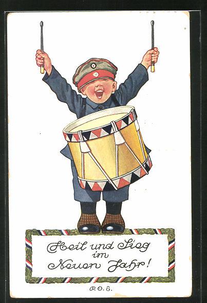 Künstler-AK P. O. Engelhard (P.O.E.): Knabe als Trommler des Musikkorps