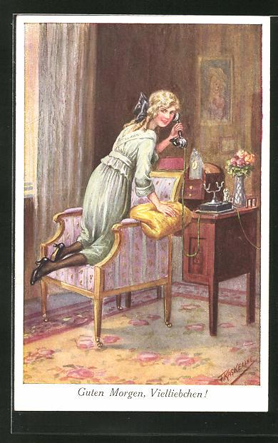 Künstler-AK Friedrich Kaskeline: Guten Morgen, Vielliebchen!, Mädchen beim Telefonieren