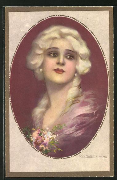 Künstler-AK Tito Corbella: Portrait einer schönen Frau mit Blumen