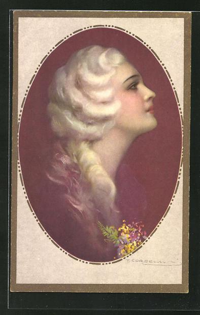 Künstler-AK Tito Corbella: schöne Frau im Profil