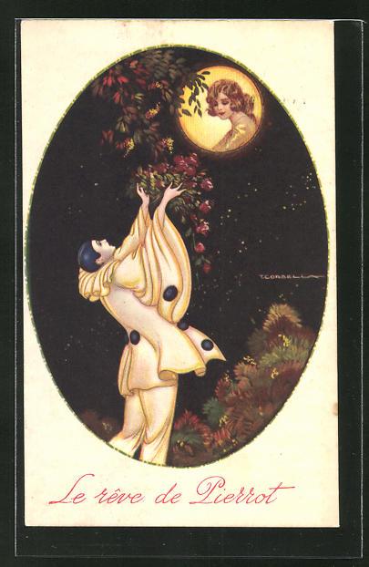 Künstler-AK Tito Corbella: Le rêve de Pierrot, Pantomime im Vollmond