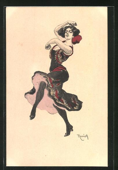 Künstler-AK Ferdinand von Reznicek: Simplicissimus Serie VI. No. 6: schöne Frau tanzt