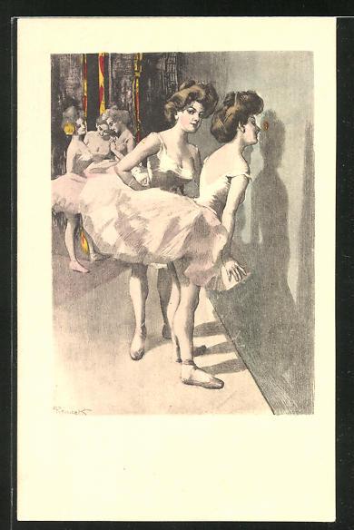 Künstler-AK Ferdinand von Reznicek: Simplicissimus Serie I. No. 10: Mädchen beim Ballett